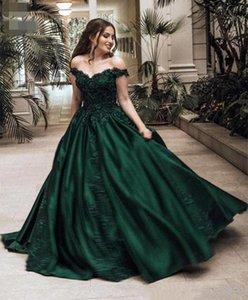 2020 Yeni Geliş sayın yeşil balo Akşam Sweetheart Yok A-line dantel aplike Kolsuz Kat uzunlukta Saten Doğal Kapalı Omuz