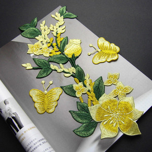 20191003 amarillo de la mariposa Rose pegar los accesorios chinos ropa bordado de bricolaje sin pasta de pegamento