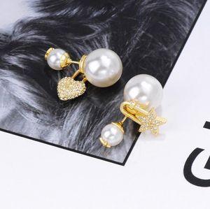 estrela amor Super quente assimétrica pérola designer de designer brincos de diamantes de luxo de jóias mulheres brincos