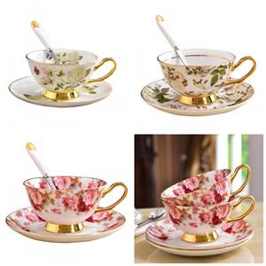 Cerâmica Flor Impressão Placa Taça Terno Chá Da Tarde Caneca De Café Tumbler Com Aro De Ouro Prato Colorido Moda 26yd C1
