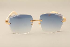 Atacado-Novo direto da fábrica de moda de luxo óculos de sol 3524014 natural chifre branco óculos de sol lentes gravadas, personalizado privado, nome esculpida