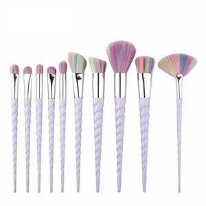 Нить красочные макияж кисти набор Фонд порошок тени для век макияж кисти косметическая красота макияж инструменты 10 шт./компл. RRA679