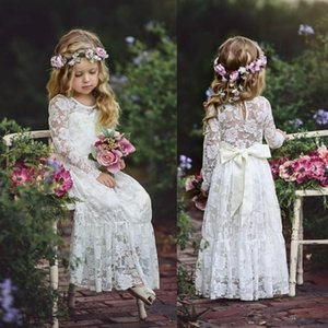 Long Sleeve Boho Flower Girls Dresses For Wedding Floor Length Lace Little Kids First Communion Dress Vintage Cheap Pageant Gown