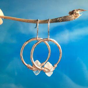 Herkimer Diamond Hoop Earrings أحجار كريمة كوارتز صغيرة في الذهب ارتفع الذهب الاسترليني فضة دورب أقراط مجوهرات