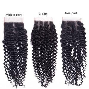 Brésilien Kinky Curly Remy Hair Lace Closure 100% noeuds de cheveux humains blanchis avec des cheveux de bébé gratuit milieu 3 parties top fermetures