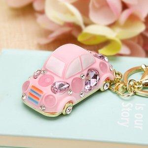 New creative car keychain cute crystal beetle keychain female bag pendant key chain ring