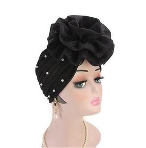 Femmes Perlé Glitter Turban Grandes Fleurs Bandeau De Mariage Fête Tête Écharpe Cheveux Perdent Cap Tête Wraps Accessoires De Cheveux GB588