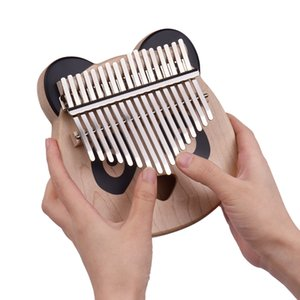New Animal Wooden 17-Key Kalimba Thumb Piano Maple with Carry Bag Musical Note Stickers Tuning Hammer Cloth Gift for Children