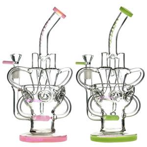 Стекло Бонг Dab Рог Ресайклер нефтяных вышки удивительная тройные циклонный инлайн рука пьянящие бонги зацепляют PERC водопроводных труб чаши кварца сосиски фиолетовых труб