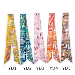 Multifunzionale Colorful Hand Bag Sciarpe Magic Hair seta della sciarpa del cappello di colore misto di donne della stampa fascia Handle Bag lungo nastro Sciarpe Wraps