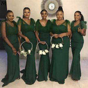 2020 Sarcelle africaine de demoiselle d'honneur robes sexy encolure en V manches étage longueur balayage train satin de soie robe de bal de demoiselle d'honneur