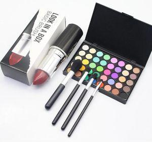 CALIENTE maquillaje 4pcs Marca Look In A Box básico cepillo / cepillos fijados establecidos con Big lápiz labial soporte toca herramientas de maquillaje buenas herramientas item.makeup