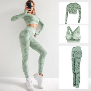 De haute qualité Marque Designer Femmes Coton Yoga Costume manches longues Sportwear Survêtements Fitness Sport Jumpsuit trois pièces ensemble de soutien-gorge de 3pcs