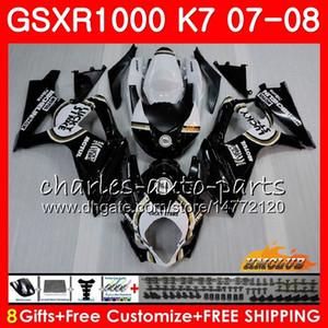Karosserie Für SUZUKI GSXR-1000 GSXR1000 lucky black hot 2007 2008 07 08 Karosserie 12HC.6 GSX R1000 GSX-R1000 K7 GSXR 1000 07 08 ABS Verkleidungskit