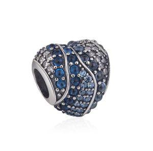 SICAK Tam elmas kalp şeklinde okyanus Marka Boncuk 925 Gümüş İçin Kadınlar Bilezik kolye Charms Takı Hediye W65