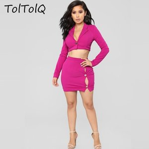 TolTolQ Fall 2018 Autumn V Lead Short Long Sleeve Two Piece Set Women Suits Winter mini Skirt And Tops Ladies Suits Tracksuit