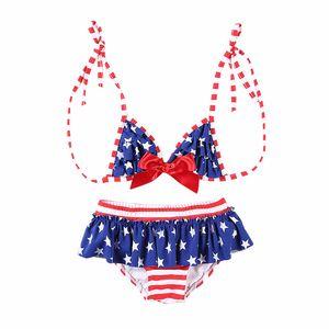 Baby Girl Sexy Costume da bagno Kids Stars Bow Lace Sexy Bikini Set Bandiera americana Independence National Day USA 4 luglio in due pezzi