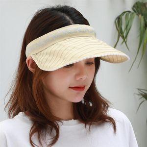 1Pc Cotton Empty Top Hat Portable Sun Hat Outdoor Sun Protection Cap Simple Style Casual Clothes Accessory (Beige)