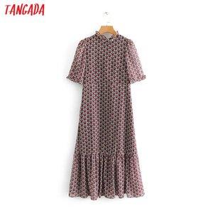 Tangada mujeres de la moda del corazón del vestido plisado vestido volantes cuello manga corta dulce mujer vestidos casuales vestidos Be213 MX19070307