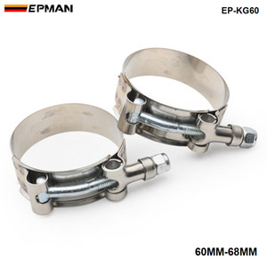 "EPMAN 2PCS NUOVO 2.25"" pollici (60MM-68MM) SILICONE TURBO TUBO RACCORDO T VITE SUPER CLAMP KIT EP-KG60"