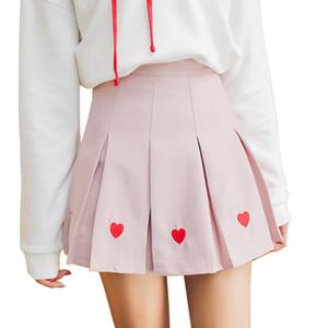 Donne Gonna Lolita Harajuku Kawaii dolce ricamo Gonne Mini Uniformi scuola sveglio Saia Faldas signore Jupe Sk6683 Q190517