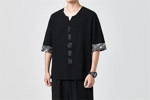 Mens Panelled Brief Stickerei-T-Shirts der Männer Regular Länge chinesischen Stil Tops Homme V-Ausschnitt Kurzarm-T-Shirts