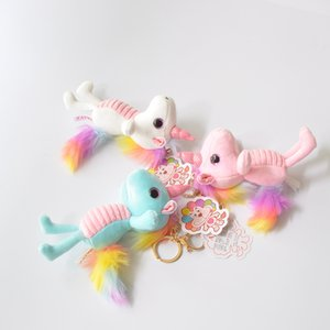 Rainbow Plush Toy Mochila Colgante Llavero Animal de peluche Llaveros de peluche Colgante pequeño Bolsa Accesorios Ángel Muñeca de peluche