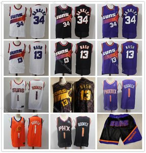 PhoenixSunsJerseys Мужские 1 Девин Букер Джерси Деандре 22 Айтон 34 Чарльз Баркли 13 Стив Нэш Города Черный Basketball1Jerseys Издание