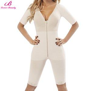 Lover-Beauty Full Coverage Body Shaper Women Plus 3XL Deep V Lingerie Sleeve Shapewear Zip Up Slim Thigh Tight Bodysuit Seamless Y200706