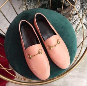 Diseñador de zapatos de mujer bordado Plaid botón de caballo zapatos planos hebilla hebilla Mocasín de color a juego zapatos retro 889