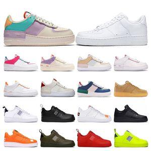 nike air force 1 2019 Homens Utilitário Clássico Preto Branco Mulheres Sapatos Casuais vermelho de Skate de Alta Low Cut treinador de Trigo Sports Sneaker tamanho Plataforma 36-45
