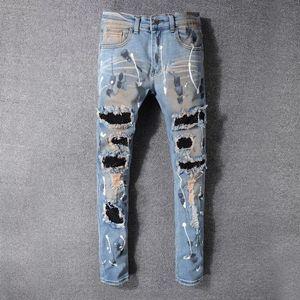 Afligido novos 2020 Mens Jeans Ripped Skinny Jeans Mens Yuxury Designer Jeans FaLight Azul Fit soltas de algodão designer de shion pantse