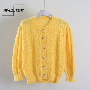 HWLZLTZHT 2020 Summer O Neck Manteaux évider Cardigans Hauts Manches longues Manches femmes tricot veste cardigan