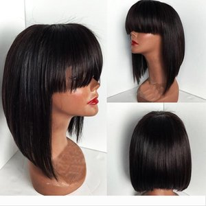 New bob cut wigs short lace front wigs with bangs glueless lace front wig human hair bob wig with baby hair for african american black women