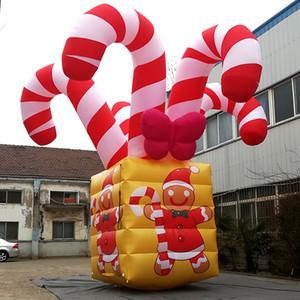 크리스마스 진저 브레드 맨 사용자 정의 풍선 사탕 상자 6m 거대한 크리스마스 장식 풍선 사탕 상자
