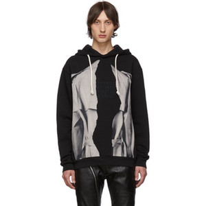 20SS bordado de impresión en 3D con capucha remiendo sudadera con capucha fresco de la manera ocasional de la calle suéter del suéter del puente del color del contraste de 3851 HFHLWY196