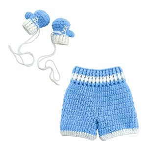 0-3month Baby Crochet Photography Props Shoot Newborn Photo Cool Boy Costumes Infant Pants Clothing Set Pet Supplies