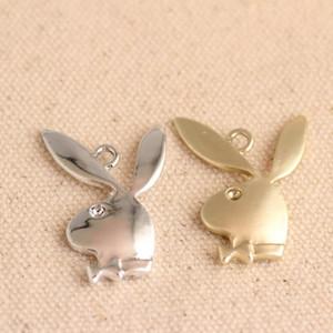 100pcs / lot Playboy Charm Plata Oro Conejo Orejas de conejo joyería pendiente del encanto de Adultos, pulsera del encanto