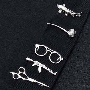 Jewelry & Accessories Metal Tone Clip Glasses Fish Pipe Shape Simple Tie Clip for Men Tie Bar Business Men Necktie