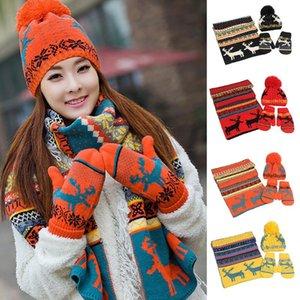 Winter Caps Knit Thick Weihnachten Wolle warmer Schal Handschuhe Hut Dreiteilige Reindeer Thick Hut Schal Handschuhe Sets Geschenk für Frauen bei 25