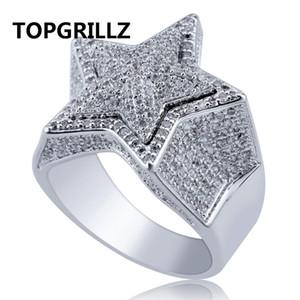 Topgrillz Hip Hop Cinco Estrelas Anéis dos homens de Prata Cor de Ouro Congelado Para Fora Cubic Zircon Jóias Anel Presentes Y19062004