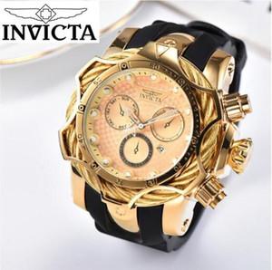 бренд Авторизация INVICTA Большой циферблат из нержавеющей стали Полный календарь Многофункциональные мужские силиконовые кварцевые часы Малый орнамент набора