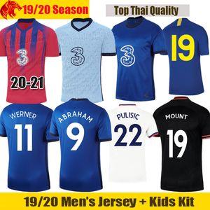 20 21 Chelsea Camisas de futebol MOUNT 2020 2021 WILLIAN LAMPARD ABRAHAM Camisa de futebol PULISIC Jersey para homem Chelsea Kids Kit LOFTUS-CHEEK Jersey
