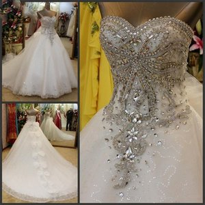 Luxury Rhinestone Beaded Sweetheart Wedding Dresses Lace Up Back Buttons Applique Edge Vestidos De Novia Bridal Gowns Real Image