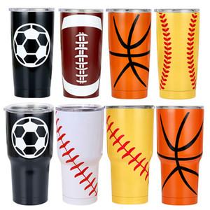كأس 30oz أكواب أكواب كرة السلة كرة القدم البيسبول مطبوع كأس البيرة القدح القهوة المياه عقد زجاجة السيارات