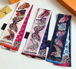 Designer de moda Estilo Da Marca Pequena Borboleta Impressão Lenço De Seda Para As Mulheres Listrado Headband Handle Bag Fita Lenços