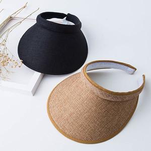 Mulheres Ladies Verão Weave Straw Cap vazio Top Praia Clip-On Solid Color Grande, Largo Brim Proteção UV respirável Sun Visor Hat