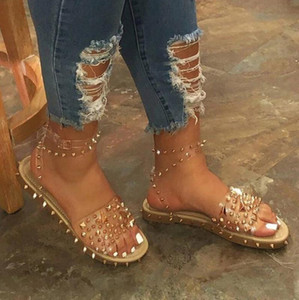 New Women Summer Sandals Flat Heel Rivet Platform Peep Toe Ankle Buckle Fashion Punk Beach Ladies Shoes Zapatos De Mujer 2020
