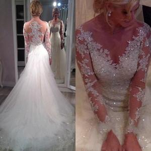 2019 Robes de mariée en mousseline de soie à manches longues étonnantes et transparentes avec train détachable