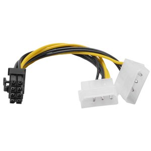 Computer Cables & Connectors New Hot 6 inch 2 x Molex 4 pin to 8-Pin PCI Express Video Card Pci-e ATX PSU